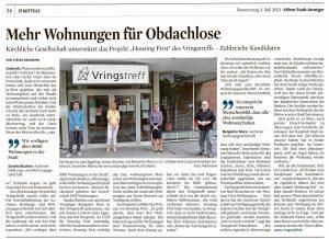 Artikel über Kooperation von Housing First Köln und Aachener Siedlungs- und Wohnungsgesellschaft
